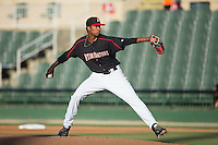 Kannapolis Intimidators starting pitcher Luis Martinez (43) in action against the Greensboro Grasshoppers at CMC-Northeast Stadium on June 11, 2015 in Kannapolis, North Carolina.  The Intimidators defeated the Grasshoppers 7-6.  (Brian Westerholt/Four Seam Images)