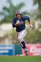 GCL Braves Vaughn Grissom (12) running the bases during a Gulf Coast League game against the GCL Orioles on August 5, 2019 at Ed Smith Stadium in Sarasota, Florida.  GCL Orioles defeated the GCL Braves 4-3 in the first game of a doubleheader.  (Mike Janes/Four Seam Images)