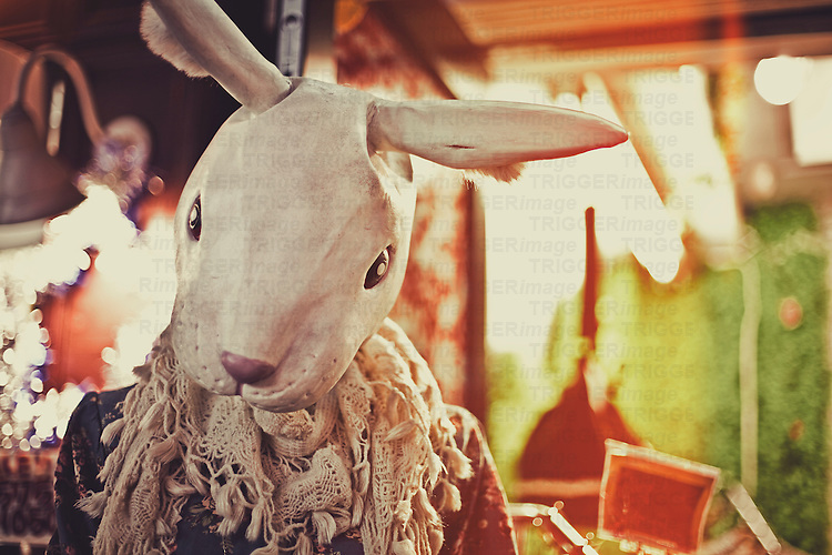 a bunny headed mannequin in harajuku, tokyo