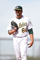 Oakland Athletics pitcher Matt Stalcup (64) in the bullpen during an Instructional League game against the San Francisco Giants on October 15, 2014 at Papago Park Baseball Complex in Phoenix, Arizona.  (Mike Janes/Four Seam Images)