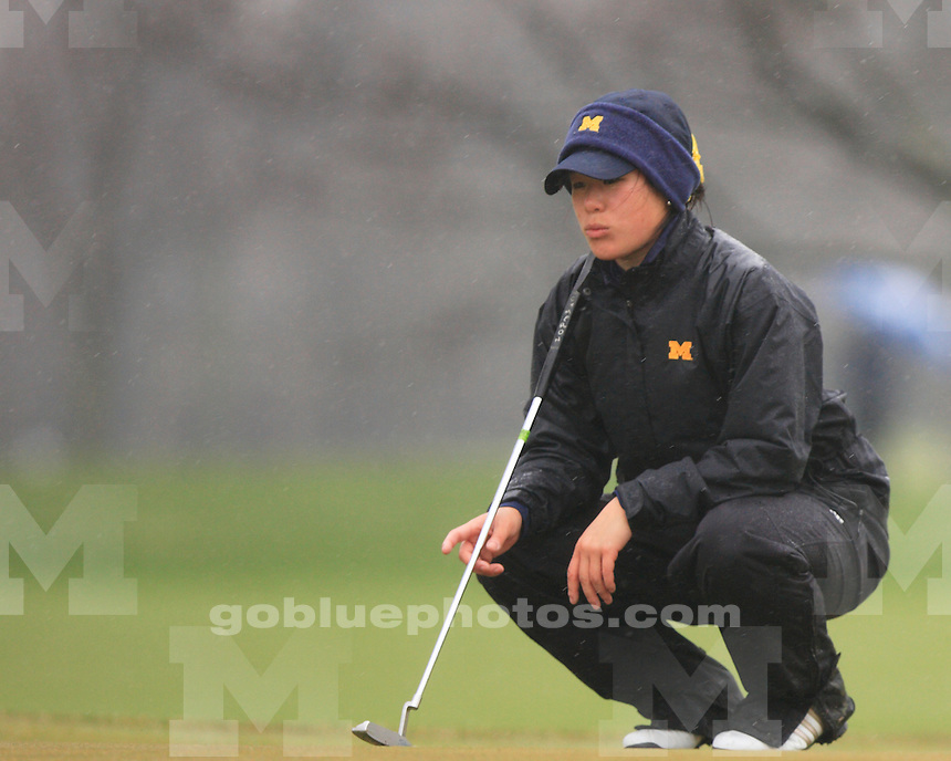 University of Michigan women's golf on a rainy first day of play at the 2011 Big Ten Championship at the Lake Shore Country Club in Glencoe, IL, on April 22, 2011.