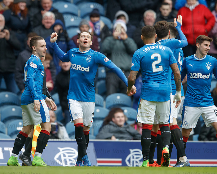 Joe Garner celebrates the second goal for Rangers