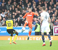 Bolton Wanderers Ben Alnwick comes out of his area to clear<br /> <br /> Photographer Mick Walker/CameraSport<br /> <br /> The EFL Sky Bet Championship - Burton Albion v Bolton Wanderers - Saturday 28th April 2018 - Pirelli Stadium - Burton upon Trent<br /> <br /> World Copyright &copy; 2018 CameraSport. All rights reserved. 43 Linden Ave. Countesthorpe. Leicester. England. LE8 5PG - Tel: +44 (0) 116 277 4147 - admin@camerasport.com - www.camerasport.com