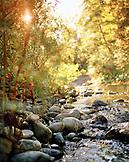 USA, California, Salmon River flowing over rocks, Forks of Salmon, Otter Bar Kayaking School
