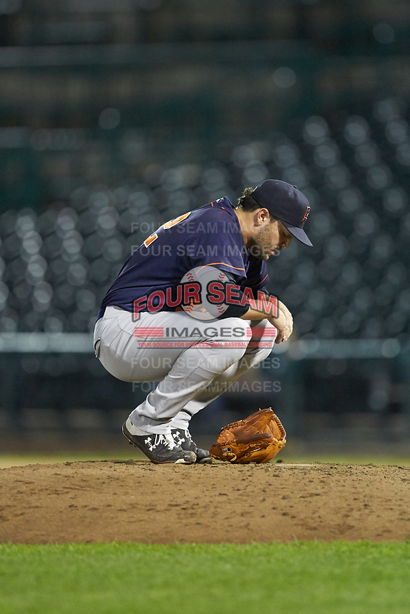 Bowling Green Hot Rods relief pitcher Nicholas Padilla (32) squats behind the mound during the game against the Fort Wayne TinCaps at Parkview Field on August 20, 2019 in Fort Wayne, Indiana. The Hot Rods defeated the TinCaps 6-5. (Brian Westerholt/Four Seam Images)