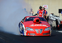 Oct. 5, 2012; Mohnton, PA, USA: NHRA pro stock driver Shane Gray during qualifying for the Auto Plus Nationals at Maple Grove Raceway. Mandatory Credit: Mark J. Rebilas-