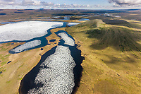 Aerial of tundra ponds and creek that drains into the Colville river, Arctic, Alaska.