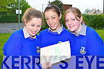 Claire Hickey Knocknagoshel, Niamh McSweeney Currow and Eileen Horan Scartaglen revising before their Leaving Cert English exam in Castleisland Community College Wednesday morning   Copyright Kerry's Eye 2008