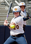 April 15, 2012:  California Bears Valerie Arioto watches an inside pitch against the  Arizona Wildcats during their NCAA softball game played at Levine-Fricke Field on Sunday afternoon in Berkeley, California.  California won the game 6-0.