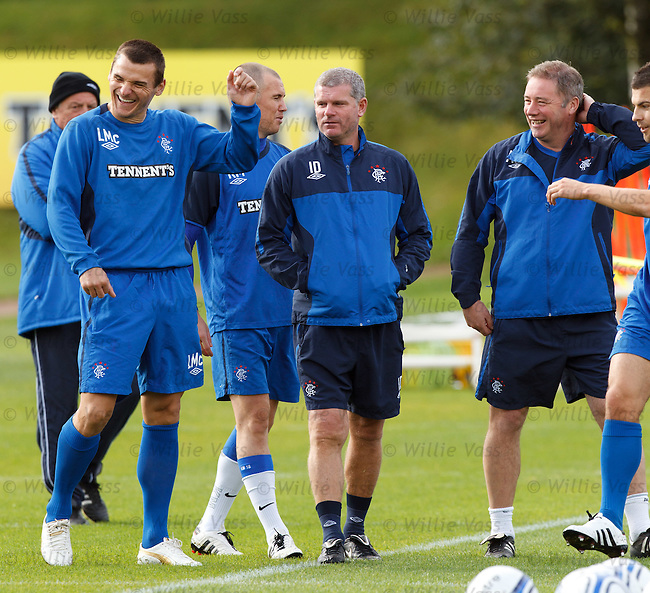 Lee McCulloch joking with Ally McCoist