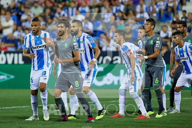 Leganes' Youssef En-Nesyri (l) and Dimitrios Siovas (r) and Real Sociedad's Mikel Merino during La Liga match. August 24, 2018. (ALTERPHOTOS/A. Perez Meca)