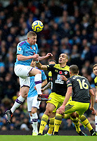 2nd November 2019; Etihad Stadium, Manchester, Lancashire, England; English Premier League Football, Manchester City versus Southampton; Kevin De Bruyne of Manchester City wins a header challenged by Oriol Romeu of Southampton - Strictly Editorial Use Only. No use with unauthorized audio, video, data, fixture lists, club/league logos or 'live' services. Online in-match use limited to 120 images, no video emulation. No use in betting, games or single club/league/player publications