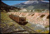 Three gondolas on the coke oven siding at Crested Butte.<br /> D&amp;RGW  Crested Butte, CO