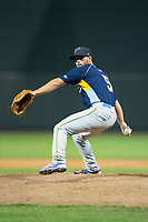 Myrtle Beach Pelicans relief pitcher Craig Brooks (5) in action against the Winston-Salem Dash at BB&T Ballpark on May 11, 2017 in Winston-Salem, North Carolina.  The Pelicans defeated the Dash 9-7.  (Brian Westerholt/Four Seam Images)