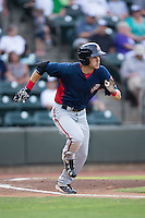 Alec Keller (9) of the Potomac Nationals hustles down the first base line against the Winston-Salem Dash at BB&T Ballpark on July 15, 2016 in Winston-Salem, North Carolina.  The Dash defeated the Nationals 10-4.  (Brian Westerholt/Four Seam Images)