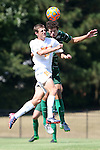 20 September 2015: Campbell's Bradley Farias (19) and Stetson's Arturo Roosen (behind). The Campbell University Camels hosted the Stetson University Hatters at Eakes Athletics Complex in Buies Creek, NC in a 2015 NCAA Division I Men's Soccer game. Campbell won the game 1-0.