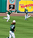 HARTFORD, CT-062520JS04—Great Falls Gators' Matt Perotti (5) makes a running catch in the outfield during  their Connecticut Twilight League baseball game against the Terryville Black Sox Thursday at Dunkin Donuts Park in Hartford. <br /> Jim Shannon Republican-American
