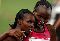 Golden Gala di atletica leggera allo stadio Olimpico di Roma, 6 giugno 2013.<br /> Kenya's Milcah Chemos is congratulated by her compatriot Lidya Chepkurui, right, after winning the women's 3000 meters steeplechase race at the Golden Gala IAAF athletics meeting at Rome's Olympic stadium, 6 June 2013.<br /> UPDATE IMAGES PRESS/Riccardo De Luca