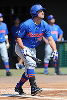 Florida Gators designated hitter Brian Johnson #35 hits a homerun during a game against the Tennessee Volunteers at Lindsey Nelson Stadium, Knoxville, Tennessee April 14, 2012. The Volunteers won the game 5-4  (Tony Farlow/Four Seam Images)..