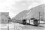 Early morning - San Juan and freight both waiting for power.<br /> D&amp;RGW  Durango, CO  Taken by Barriger, John W. III - 1946