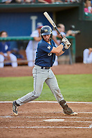 David Fry (5) of the Helena Brewers bats against the Ogden Raptors at Lindquist Field on July 14, 2018 in Ogden, Utah. Ogden defeated Helena 8-6. (Stephen Smith/Four Seam Images)