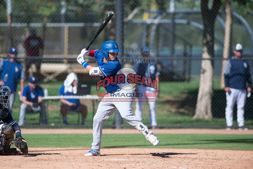 Los Angeles Dodgers outfielder Andy Pages (65) at bat during an Instructional League game against the San Diego Padres at Camelback Ranch on September 25, 2018 in Glendale, Arizona. (Zachary Lucy/Four Seam Images)