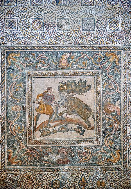 Roman Mosaic of a Wild Boar hunting scene. 4th Century AD from the Roman Villa of Las Tiendas, National Museum Of Roman Art, Merida, Spain