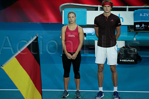 6th January 2018, Perth Arena, Perth, Australia; MasterCard Hopman Cup Tennis Final; Alexander Zverev and Angelique Kerber of Team Germany line up for the German National Anthem before the start of the Final