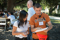 Adam Angelino '16. Incoming first years meet with their faculty advisors during the Major Information Sessions & Advising part of Orientation in the Academic Quad, Aug. 24, 2015.<br /> (Photo by Marc Campos, Occidental College Photographer)