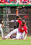 28 September 2014: Washington Nationals outfielder Bryce Harper slides safely into second with a double in the second inning against the Miami Marlins at Nationals Park in Washington, DC. The Nationals shut out the Marlins 1-0, caping the season with the first Nationals no-hitter in modern times. The win also notched a 96 win season for the Nats: the best record in the National League. Mandatory Credit: Ed Wolfstein Photo *** RAW (NEF) Image File Available ***