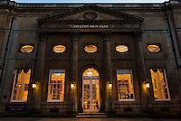 The Pump Room at dusk, Bath, UK, February 10, 2016. The UNESCO World Heritage city of Bath is famed for its hot spa that dates back to Roman times and for its Georgian architecture. For much of its history the city has been a popular holiday resort. It is the only hot spa in the UK.