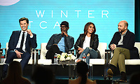 """PASADENA, CA - JANUARY 31: (L-R) Andrew Rannells, Don Cheadle, Regina Hall, and Paul Scheer of """"Black Monday"""" attend the Showtime portion of the 2019 Television Critics Association Winter Press Tour at the Langham Huntington on January 31, 2019, in Pasadena, California. (Photo by Frank Micelotta/PictureGroup)"""