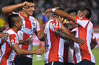 BARRANQUILLA- COLOMBIA -20 -02-2016: Edinson Toloza (Cent.), jugador de Atletico Junior celebra el gol anotado a Deportivo Pasto, durante partido entre Atletico Junior y Deportivo Pasto, de la fecha 5 de la Liga Aguila I-2016, jugado en el estadio Metropolitano Roberto Melendez de la ciudad de Barranquilla. / Edinson Toloza (C) player of Atletico Junior celebrates a scored goal to Deportivo Pasto, during a match between Atletico Junior and Deportivo Pasto, for date 5 of the Liga Aguila I-2016 at the Metropolitano Roberto Melendez Stadium in Barranquilla city, Photo: VizzorImage  / Alfonso Cervantes / Cont.