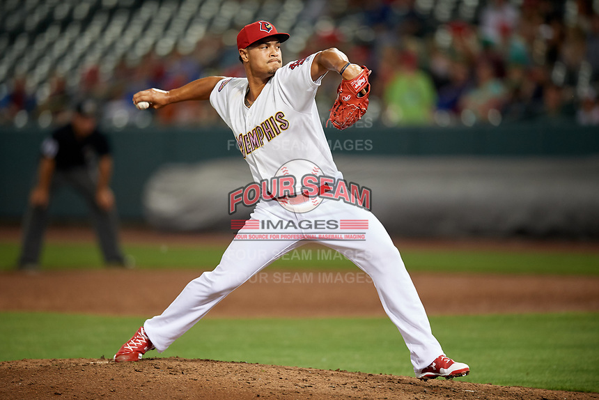 Memphis Redbirds relief pitcher Sam Tuivailala (23) delivers a pitch during a game against the Round Rock Express on April 28, 2017 at AutoZone Park in Memphis, Tennessee.  Memphis defeated Round Rock 9-1.  (Mike Janes/Four Seam Images)