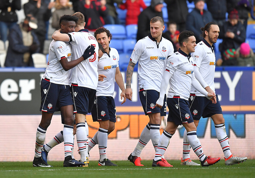 Bolton Wanderers' Sammy Ameobi (far left) is congratulated on scoring his team's second goal<br /> <br /> Photographer Dave Howarth/CameraSport<br /> <br /> The Emirates FA Cup Second Round - Bolton Wanderers v Sheffield United - Sunday 4th December 2016 - Macron Stadium - Bolton<br />  <br /> World Copyright &copy; 2016 CameraSport. All rights reserved. 43 Linden Ave. Countesthorpe. Leicester. England. LE8 5PG - Tel: +44 (0) 116 277 4147 - admin@camerasport.com - www.camerasport.com