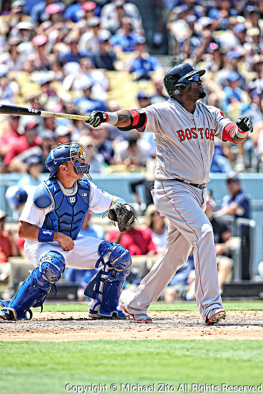August 6, 2016 Los Angeles, CA: Boston Red Sox first baseman David Ortiz #34 during an MLB game played at Dodger Stadium against the Los Angeles Dodgers.