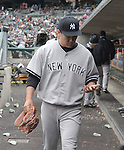 Masahiro Tanaka (Yankees), APRIL 23, 2015 - MLB : Masahiro Tanaka of the New York Yankees walks in the dugout after being pulled in the seventh inning during the Major League Baseball game against the Detroit Tigers at Comerica Park in Detroit, Michigan, United States. (Photo by AFLO)