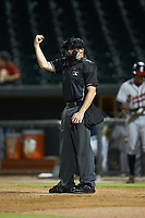 Home plate umpire Nolan Early makes a strike call during the South Atlantic League game between the Rome Braves and the Columbia Fireflies at Segra Park on May 13, 2019 in Columbia, South Carolina. The Fireflies defeated the Braves 6-1 in game two of a doubleheader. (Brian Westerholt/Four Seam Images)