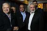 Palestinian Hamas chief in the Gaza strip, Ismail Haniyeh, meets with Chairman of the Palestinian Central Election Committee Hana Naser in Gaza city, on November 26, 2019. Photo by Ashraf Amra