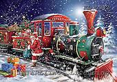 Interlitho, Simonetta, CHRISTMAS SANTA, SNOWMAN, paintings, santa, train, gifts, KL5942,#x# Weihnachtsmänner, Papá Noel, Weihnachten, Navidad, illustrations, pinturas klassisch, clásico ,Simonetta,itdp