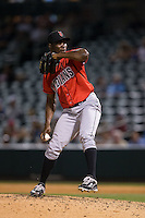 Indianapolis Indians relief pitcher Radhames Liz (37) in action against the Charlotte Knights at BB&T BallPark on June 20, 2015 in Charlotte, North Carolina.  The Knights defeated the Indians 6-5 in 12 innings.  (Brian Westerholt/Four Seam Images)
