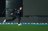 New Zealand's Mitchell Santner chases the ball during the 4th Twenty20 International cricket match between NZ Black Caps and England at McLean Park in Napier, New Zealand on Friday, 8 November 2019. Photo: Dave Lintott / lintottphoto.co.nz