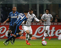 Calcio, Serie A: Inter vs Juventus. Milano, stadio San Siro, 18 ottobre 2015. <br /> Juventus&rsquo; Alvaro Morata, right, is challenged by FC Inter's Jeison Murillo during the Italian Serie A football match between FC Inter and Juventus, at Milan's San Siro stadium, 18 October 2015.<br /> UPDATE IMAGES PRESS/Isabella Bonotto