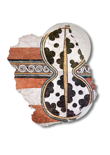 The 'figure of eight shield'  Mycenaean fresco wall painting, Mycenae Acropolis, Greece Cat No 11671. National Archaeological Museum, Athens. White Background.<br /> <br /> 12th-14th cent BC.<br /> <br /> The Mycenaean 'figure of eight shield' were originaly made of cows hide and was the symbol of a goddess of war.