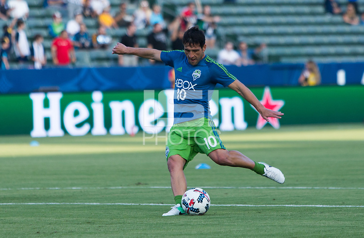 Carson, CA - Saturday July 29, 2017: Nicolas Lodeiro during a Major League Soccer (MLS) game between the Los Angeles Galaxy and the Seattle Sounders FC at StubHub Center.