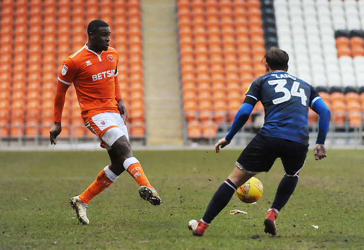 Blackpool's Donervon Daniels under pressure from Walsall's Scott Laird<br /> <br /> Photographer Kevin Barnes/CameraSport<br /> <br /> The EFL Sky Bet League One - Blackpool v Walsall - Saturday 9th February 2019 - Bloomfield Road - Blackpool<br /> <br /> World Copyright © 2019 CameraSport. All rights reserved. 43 Linden Ave. Countesthorpe. Leicester. England. LE8 5PG - Tel: +44 (0) 116 277 4147 - admin@camerasport.com - www.camerasport.com