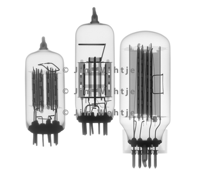 X-ray image of three vacuum tubes (black on white) by Jim Wehtje, specialist in x-ray art and design images.