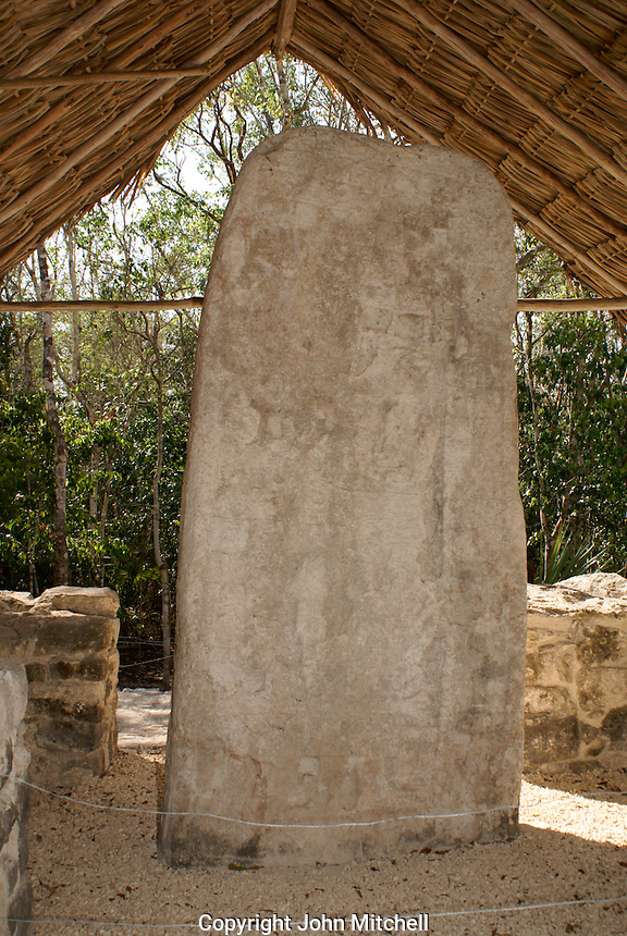 Stela 1 in the Macanxoc group at the ruins of Coba, Quintana Roo, Mexico. This famous stela bears the Long Count calendar  date (3188 B.C.) of the beginning of the current Mayan era that will end in December 2012. .