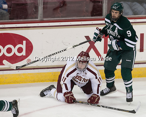 Pat Mullane (BC - 11), Matt Lindblad (Dartmouth - 9) - The Boston College Eagles defeated the visiting Dartmouth College Big Green 6-3 (EN) on Saturday, November 24, 2012, at Kelley Rink in Conte Forum in Chestnut Hill, Massachusetts.