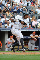 New York Yankees outfielder Curtis Granderson #14 during a game against the Baltimore Orioles at Yankee Stadium on September 5, 2011 in Bronx, NY.  Yankees defeated Orioles 11-10.  Tomasso DeRosa/Four Seam Images